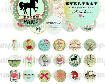 Digital Collage Sheet Circles, digital bottle caps, one inch circle and 5 other sizes, 1inch digital round Instant Download