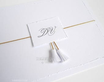 Distressed wedding invitations with tassels and initials, tassel invitation, elegant white minimal invitation, custom Italian  invitation