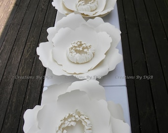 Large Cream Paper Flowers - 4 pcs - Poppy Flowers Backdrop, Wedding Flower Backdrop, Nursery Wall Decor, Party Decor - Made to Order