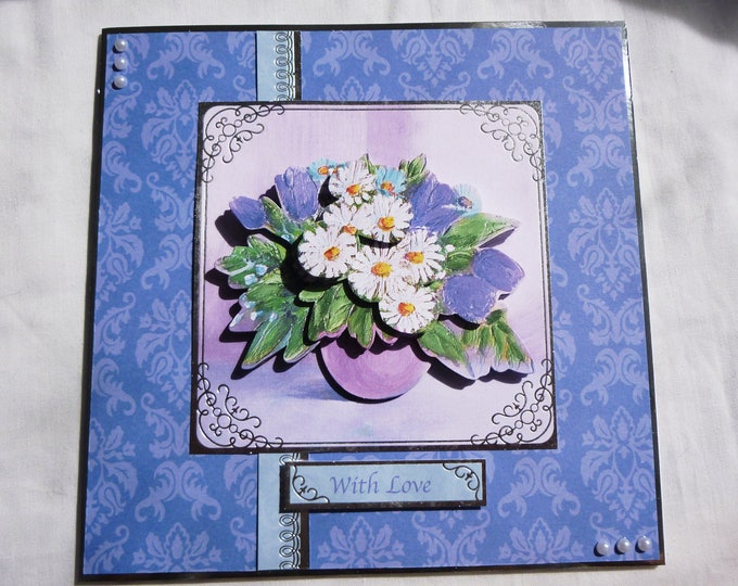 Bright Floral 3D Decoupage Card, Birthday Card, Greeting Card, Blue and White Flowers, Female, Any Age, Mum, Sister, Daughter, Niece, Aunt