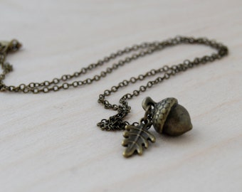 Brass Acorn Charm Necklace | Forest Acorn Charm Necklace | Woodland Nature Jewelry
