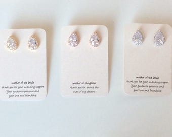 Stud earrings on mother of the groom or mother of the bride cards great gift for moms-wedding gift for your mothers