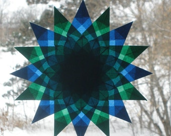 Blue and Green Mandala Waldorf Window Star Suncatcher