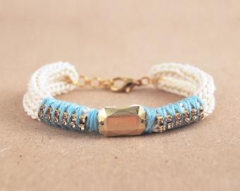 Knit bracelet with rhinestones, beige cord bracelet, rhinestone bracelet, arm candy