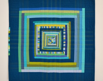Blue Wall Quilt, Quilted Wall Hanging, Modern Wall Hanging, Modern Wall Decor,  Geometric Quilt, Blue Mini Quilt