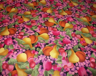 Fruit Cobbler Fabric  Pears Peaches Grapes Cherries Very Nice New By The Fat Quarter