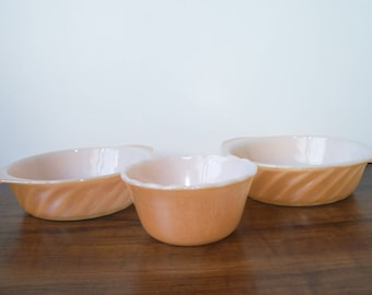 3 Vintage Fire King  Milk Glass peach lusterware small bowls (#EV235)
