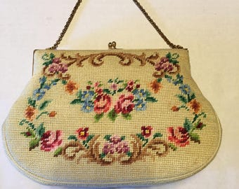 Vintage Needlepoint Evening Bag With Comb and Mirror