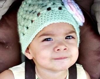 Crochet hat with flower, handmade hat, faux crystal, open weave hat, earwarmer edge, girls hat, photo prop, newborn hat, toddler hat, child