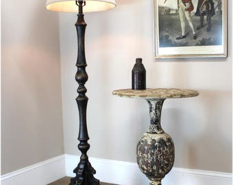 "Black Floor Lamp ""La Femme"" Aged Black Painted French Country Finish & Shade"