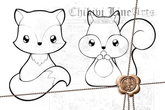 digital stamp fuchs  eichhörnchen lineart malvorlage