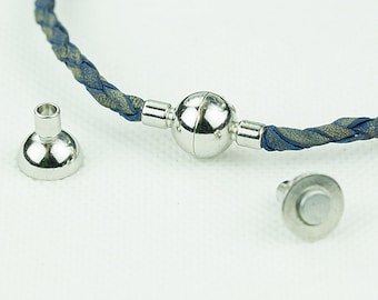 Magnetic Clasps for 3mm Leather Cord, Magnetic End Cap, Platinum Plated over Brass, 19x10mm, Pkg of 2 Sets, F0HQ.PT16.S02