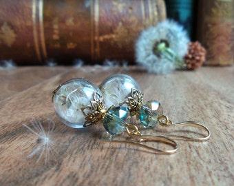 Dandelion earrings, make a wish, glass globe dangles dry flower earrings, nature jewelry, girlfriend gift, for her, real flower jewelry