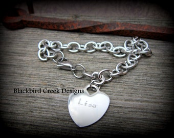 Heart Charm Bracelet in Stainless Steel  for Mom and Grandma, Personalized, Graduation Gift, Gift for Her
