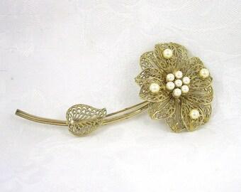 Vintage Flower Brooch Goldtone Faux Pearl Restored