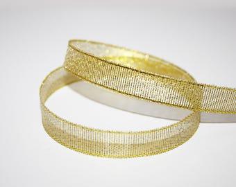 Organza Ribbon gold glittery 12 mm, 1 meter, transparent Gold Ribbon