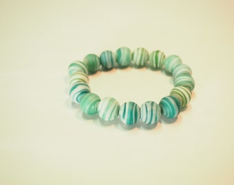 Swirling Aqua and Green Glass Beaded Bracelet