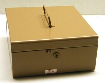 Vintage Lockable Metal File Box