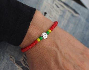 Red rasta bracelet - cannabis bracelet  - reggae  - ganja bracelet  - rastafarian - stoner gifts - rats gifts - rasta man - rasta girl
