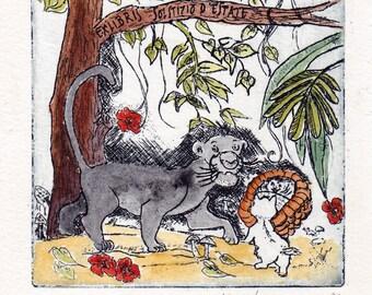 Jungle Book-Baghira finds Mowgli-baby-original-etching-wall decoration-printgraphic-miniature-bookplates ex Libris
