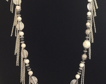 White Turquoise Spiral Chain Necklace