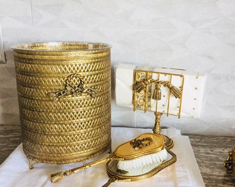 Vanity Waste Basket Stylebuilt Accessory Vintage Gold Tone Filigree Footed Trash Can With Liner Rope And Tassel