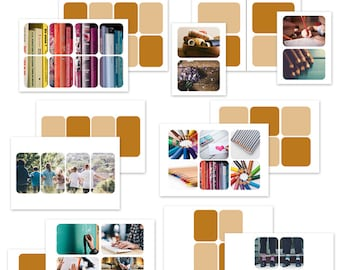 la colección simplemente blanco v7r (redondeado) - conjunto de plantillas de collage de fotos digitales