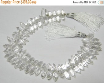 9 inch strand-- 5x12 mm approx-- Fine Quality Crystal Quartz Faceted Dew Drops Briolettes