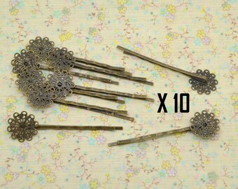 bronze metal Bobby pin hair ornement 10 x