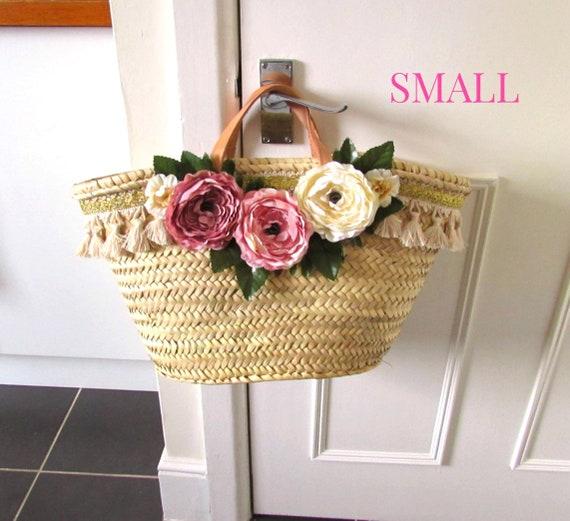 French romantic boho basket  Pink peony farmhouse style straw bag  Small market bag  Small straw bag Shabby chic cabbage rose wedding basket