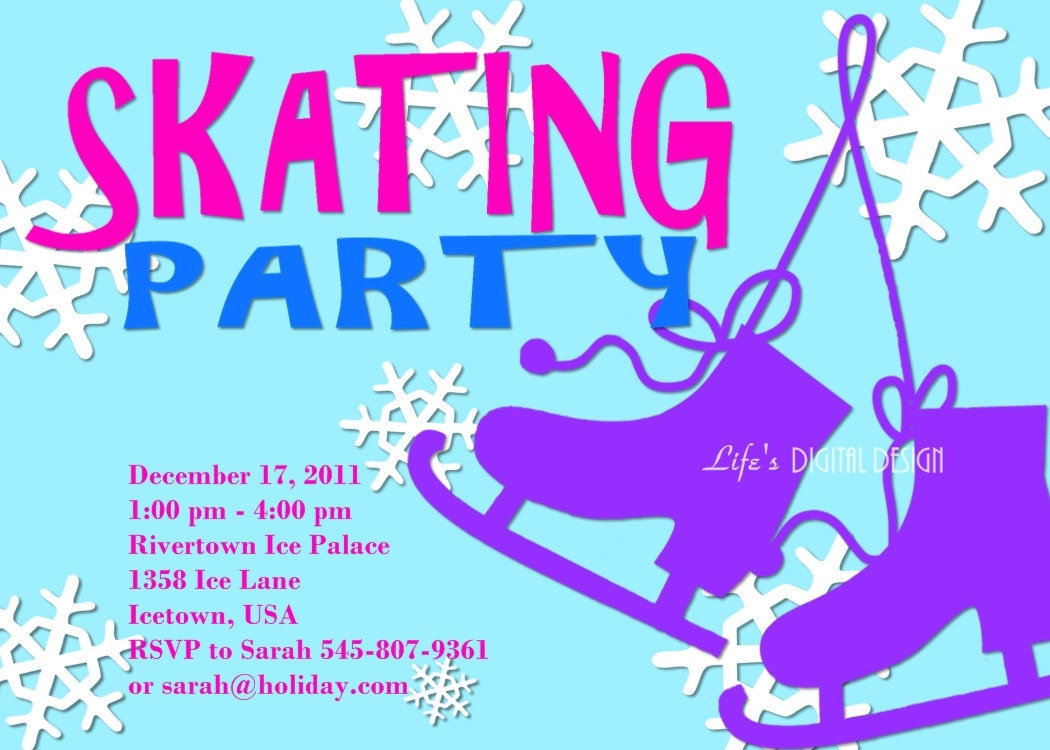 Ice Skating Party Invitation Customizable Printable 4x6 or 5x7