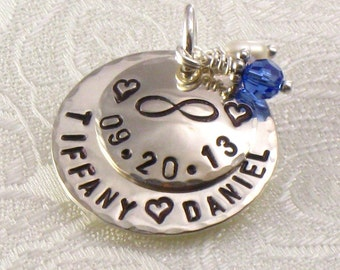 Infinity Bridal Bouquet Charm for Bride's Flower Bouquet - Hand Stamped with Infinity Sign - Wedding Date -  Bride and Groom Names