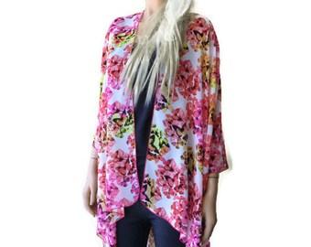 Boho Kimono cardigan-Pink Blooms and Butterflies kimono--Chiffon Ruana-Many colors