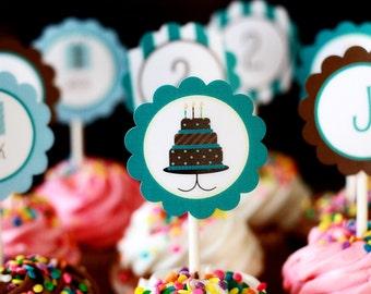 Printable Party Circles- Blue Cake Collection