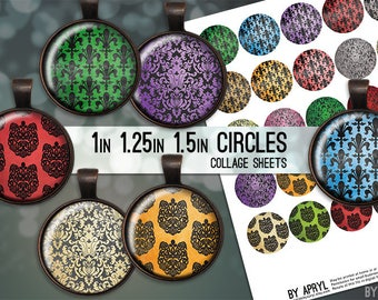 Damask Digital Collage Sheet 1 inch 1.25 and 1.5 Circles  for Glass and Resin Pendants Bottle Caps Digital Download JPG