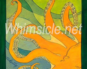 "Octopus Art Print inspired by fortune cookies ""adapt adeptly"" matted"