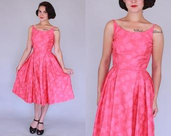 "1950s Hawaiian dress   vintage 50s coral ""Kahala"" sundress with subtle floral print   small"
