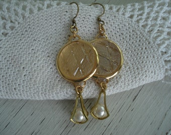 SALE Vintage Clear and Frosted Glass Cabochon Gold Dangle Earrings Harlequin Argyle