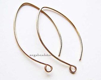 10 pcs 30mm Long Oval Ear Wires 14K Gold Filled  Earring Hooks F374GFs