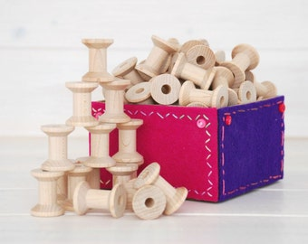 "Wood Spools - 50 Small Wooden Spools - Unfinished -1-1/8th"" x 7/8th""  - Small Wood Spools - Wood Spools for Twine"