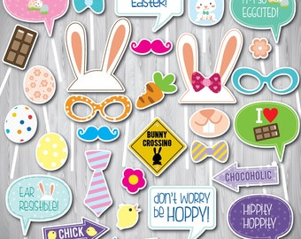 Easter Photo Booth Props, Easter Props, Easter Decor, Easter Egg Hunt, PRINTABLE Photo Booth Props, INSTANT DOWNLOAD, Easter Photo Booth