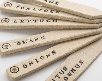 A Set Of Six Stoneware Handmade Vegetable Markers