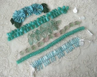 SUPER SALE  (5) Strands of Turquoise Colored Glass Beads - One Low Price