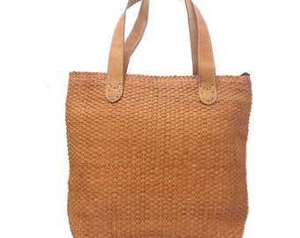 Woven Leather Tote Camel 0,5 cm