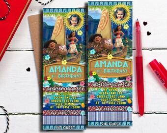 Moana Invitations, Moana Ticket Invitations, Moana Birthday Invitation, Moana Party Invitation, Moana Party Invite, Moana Invite, Moana3