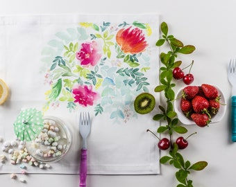Watercolor Pastel Floral Cloth Napkins - made to order
