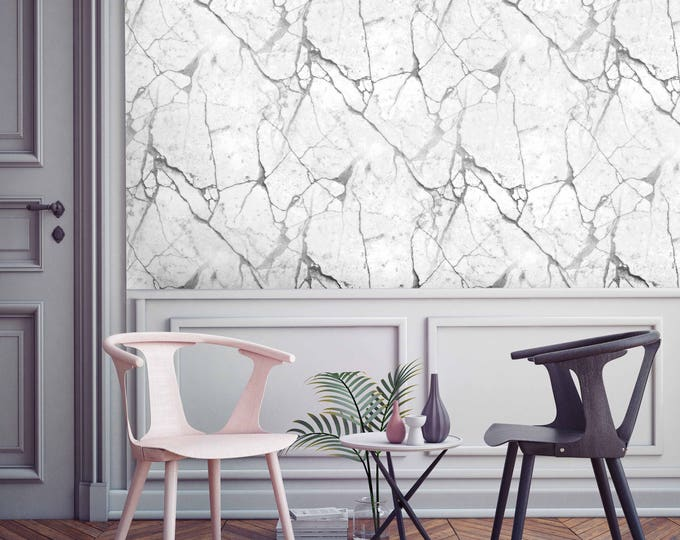 MARBLE WALLPAPER - White marble wall covering