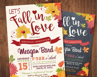Fall in Love Bridal Shower Invitation. DIY card. Digital Printable card