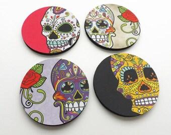 Dia de los Muertos Drink Coasters set of 4 halloween home decor sugar skulls skeleton gift