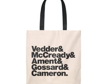 Band Line-Up Tote Bag - Vedder Mccready Ament Gossard Cameron (Ships from USA)